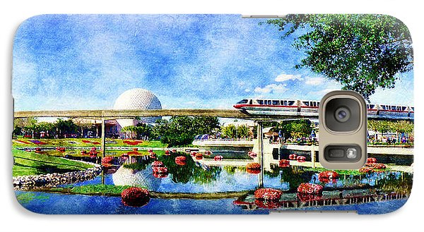 Galaxy Case featuring the digital art Monorail Red - Coming 'round The Bend by Sandy MacGowan