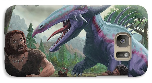 Galaxy Case featuring the painting Monster Attacking Cavemen by Martin Davey