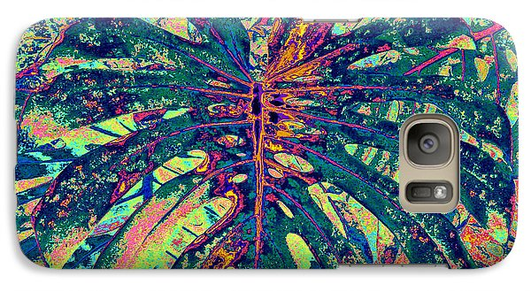 Galaxy Case featuring the digital art Monstera Leaf Patterns - Square by Kerri Ligatich