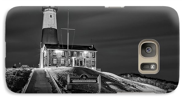 Galaxy Case featuring the photograph Montauk Point Lighthouse Bw by Susan Candelario