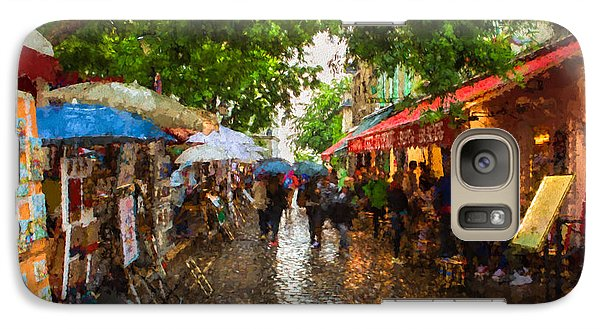 Galaxy Case featuring the photograph Montmartre Art Market, Paris by Carl Amoth