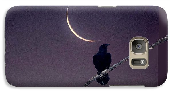 Galaxy Case featuring the photograph Moon And Raven Abstract by Deborah Moen