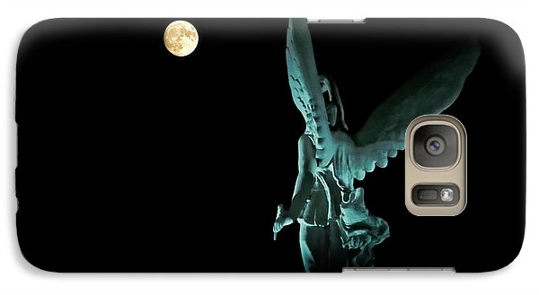 Galaxy Case featuring the photograph Super Moon And Winged Goddess Of Victory by Charline Xia