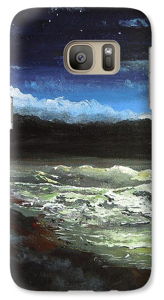 Galaxy Case featuring the painting Moon Lit Sea by Dan Whittemore