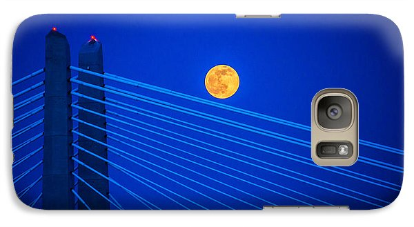 Galaxy Case featuring the photograph Moon Over A Bridge by Jerry Cahill