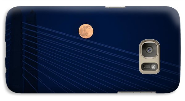 Galaxy Case featuring the photograph Moon Over Bridge by Jerry Cahill