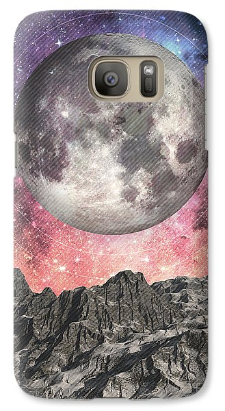 Galaxy Case featuring the digital art Moon Over Mountain Lake by Phil Perkins