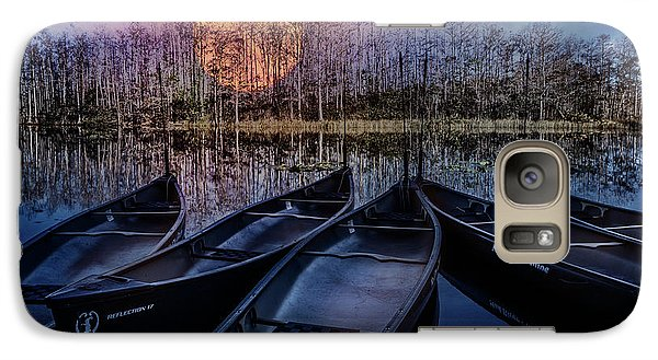 Galaxy Case featuring the photograph Moon Rise On The River by Debra and Dave Vanderlaan