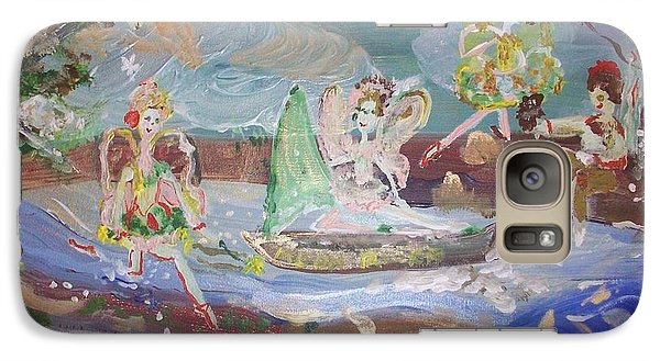 Galaxy Case featuring the painting Moon River Fairies by Judith Desrosiers
