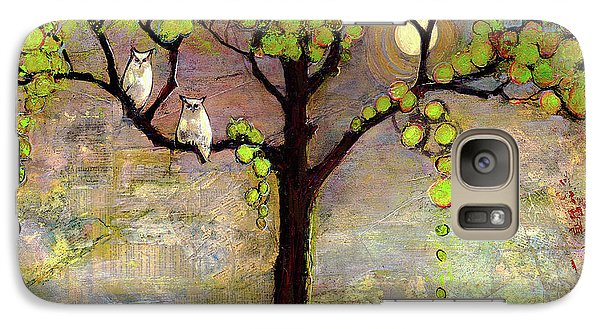 Moon River Tree Owls Art Galaxy S7 Case by Blenda Studio