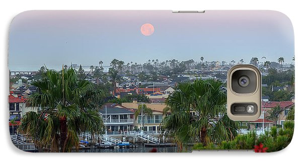 Galaxy Case featuring the photograph Full Moon Setting In Corona Del Mar by Eddie Yerkish