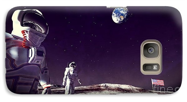 Galaxy Case featuring the digital art Moon Walk by Methune Hively