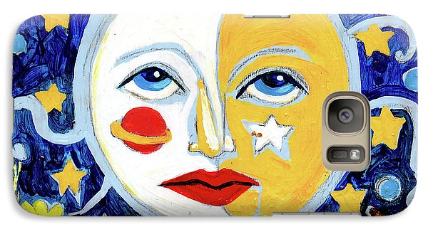 Galaxy Case featuring the painting Moonface With Wolf And Stars by Genevieve Esson