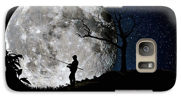 Galaxy Case featuring the photograph Moonlight Fishing Under The Supermoon At Night by Justin Kelefas