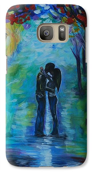 Galaxy Case featuring the painting Moonlight Kiss by Leslie Allen