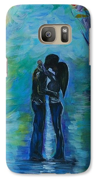 Galaxy Case featuring the painting Moonlight Kiss Series 1 by Leslie Allen