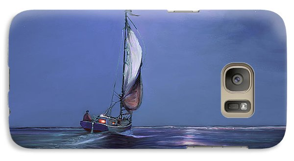 Galaxy Case featuring the painting Moonlight Sailing by David  Van Hulst