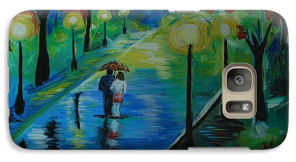 Galaxy Case featuring the painting Moonlight Stroll by Leslie Allen