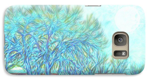 Galaxy Case featuring the digital art Moonlit Winter Trees In Blue - Boulder County Colorado by Joel Bruce Wallach