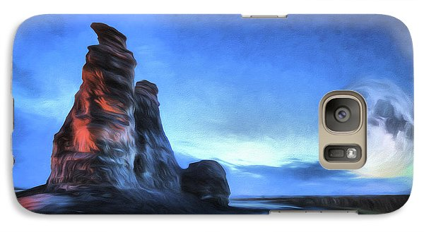 Galaxy S7 Case featuring the digital art Moonrise Over Castle Rock by JC Findley