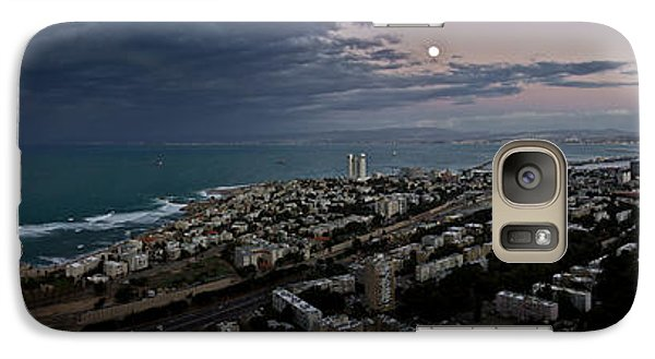 Galaxy Case featuring the photograph Moonrise Over Haifa Bay by Nadya Ost