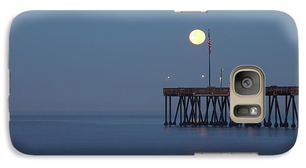 Galaxy Case featuring the photograph Moonset At The Ventura Pier by John A Rodriguez