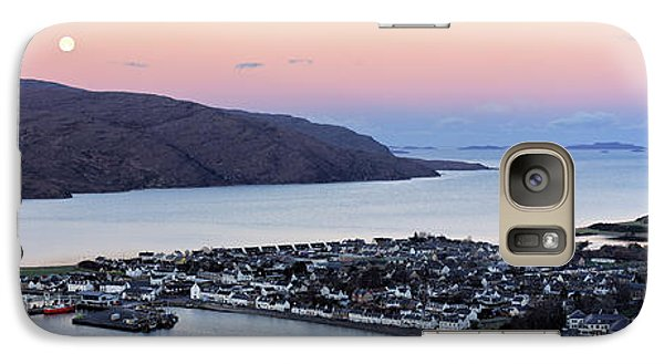 Galaxy Case featuring the photograph Moonset Sunrise Over Ullapool by Grant Glendinning