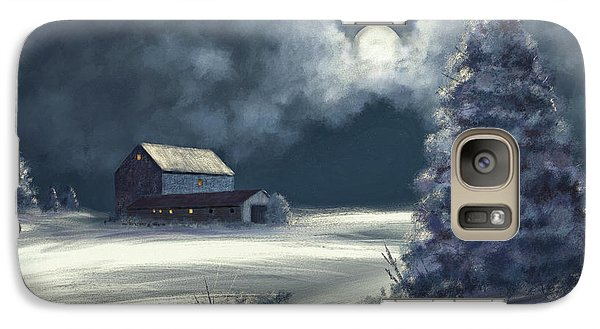 Galaxy Case featuring the digital art Moonshine On The Snow by Lois Bryan