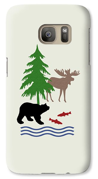 Moose And Bear Pattern Art Galaxy Case by Christina Rollo