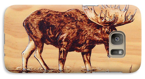Galaxy Case featuring the pyrography Moose Marsh by Ron Haist