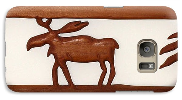 Galaxy Case featuring the mixed media Moose Walking Through The Forest by Robert Margetts