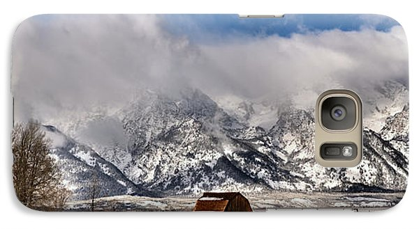 Galaxy Case featuring the photograph Mormon Row Early Winter Panorama by Adam Jewell