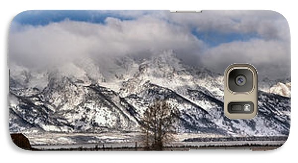 Galaxy Case featuring the photograph Mormon Row Snowy Extended Panorama by Adam Jewell