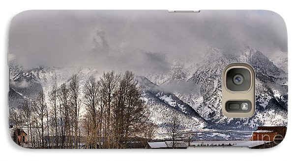 Galaxy Case featuring the photograph Mormon Row Winter Morning Panorama by Adam Jewell