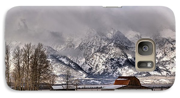 Galaxy Case featuring the photograph Mormon Row Winter Panorama by Adam Jewell