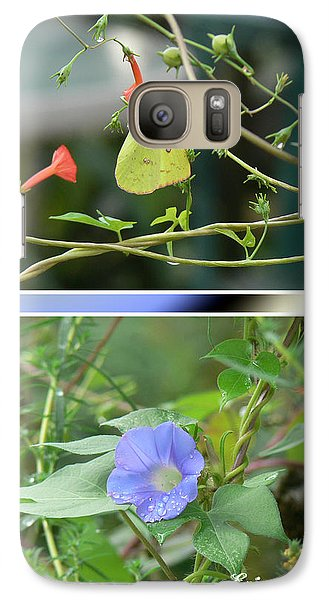 Galaxy Case featuring the photograph Morning Glories And Butterfly by EricaMaxine  Price