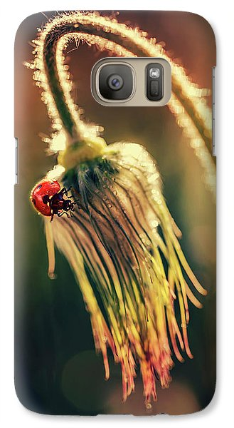 Galaxy Case featuring the photograph Morning Impresion With Ladybug by Jaroslaw Blaminsky