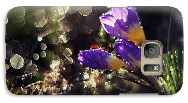 Galaxy Case featuring the photograph Morning Impression With Violet Crocuses by Jaroslaw Blaminsky