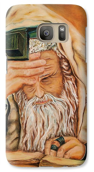 Galaxy Case featuring the painting Morning Prayer by Itzhak Richter