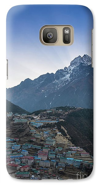 Galaxy Case featuring the photograph Morning Sunrays Namche by Mike Reid