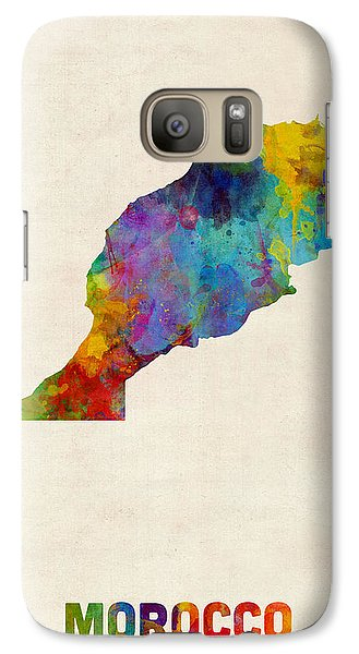 Galaxy Case featuring the digital art Morocco Watercolor Map by Michael Tompsett