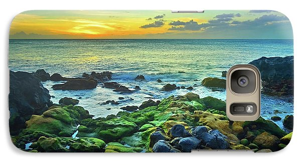 Galaxy Case featuring the photograph Moss Covered Rocks At Sunset In Molokai by Tara Turner