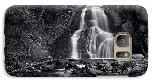 Galaxy Case featuring the photograph Moss Glen Falls - Monochrome by Stephen Stookey