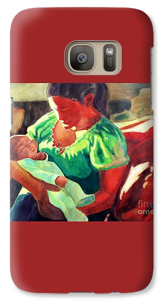 Galaxy Case featuring the painting Mother And Child In Red2 by Kathy Braud