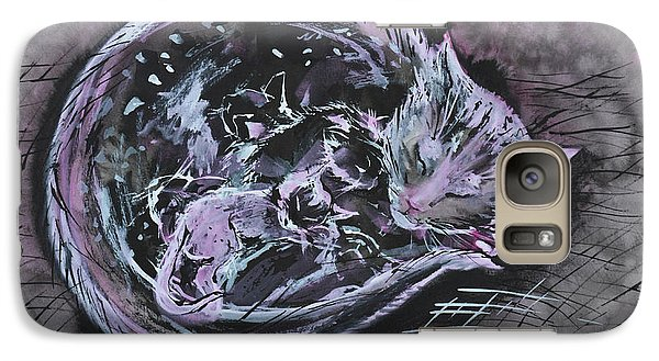 Galaxy Case featuring the painting Mother Cat With Kittens by Zaira Dzhaubaeva