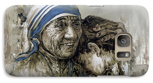 Galaxy Case featuring the painting Mother Teresa Portrait  by Gull G