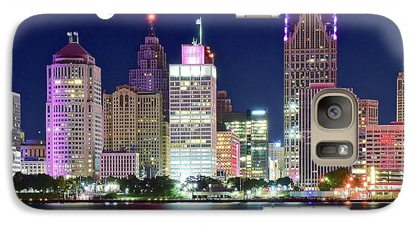 Galaxy Case featuring the photograph Motor City Night With Full Moon by Frozen in Time Fine Art Photography