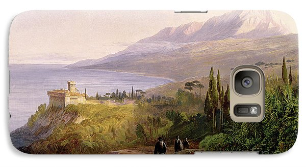 Mount Athos And The Monastery Of Stavroniketes Galaxy S7 Case by Edward Lear