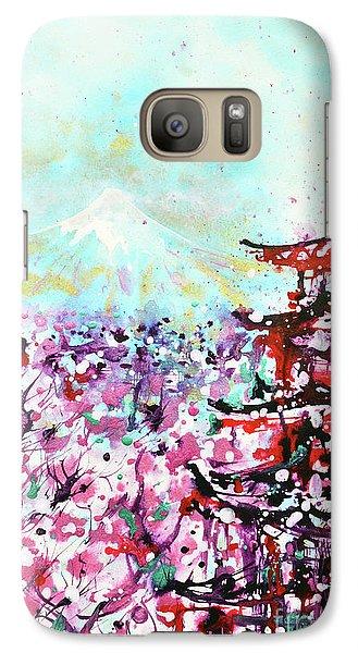 Galaxy Case featuring the painting Mount Fuji And The Chureito Pagoda In Spring by Zaira Dzhaubaeva