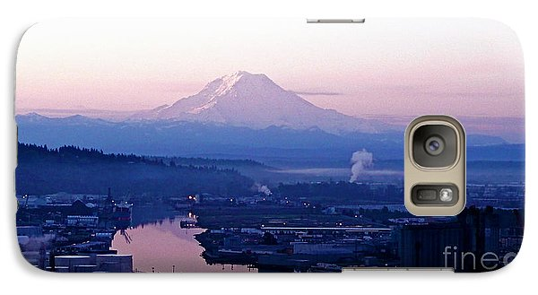 Galaxy Case featuring the photograph Mount Rainier Dawn Above Port Of Tacoma by Sean Griffin